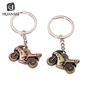 wholesale 3d antique bronze plated metal motorbike keychain