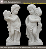 Marble Stone Little Boy Angel Garden Statue with Flowers and Fruits