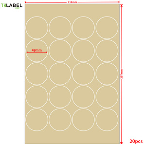 400pcs x A4 Round Kraft paper printing label 50mm diecut stickers for inkjet / laserjet / copier strong self-adhesive