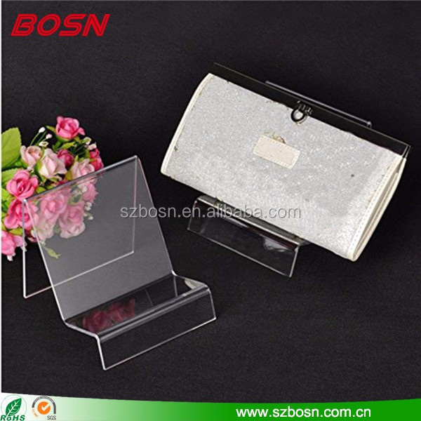 Hot sell clear acrylic women Wallet stand display rack perspex sign holder for store accessories
