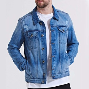 Guangdong Factory Ripped Mens Denim Jacket Casual Windbreaker Frayed Jeans Motorcycle Trucker Jaket