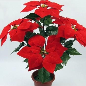 7 Heads Red Colored Silk Flower Mini Small Artificial Poinsettia