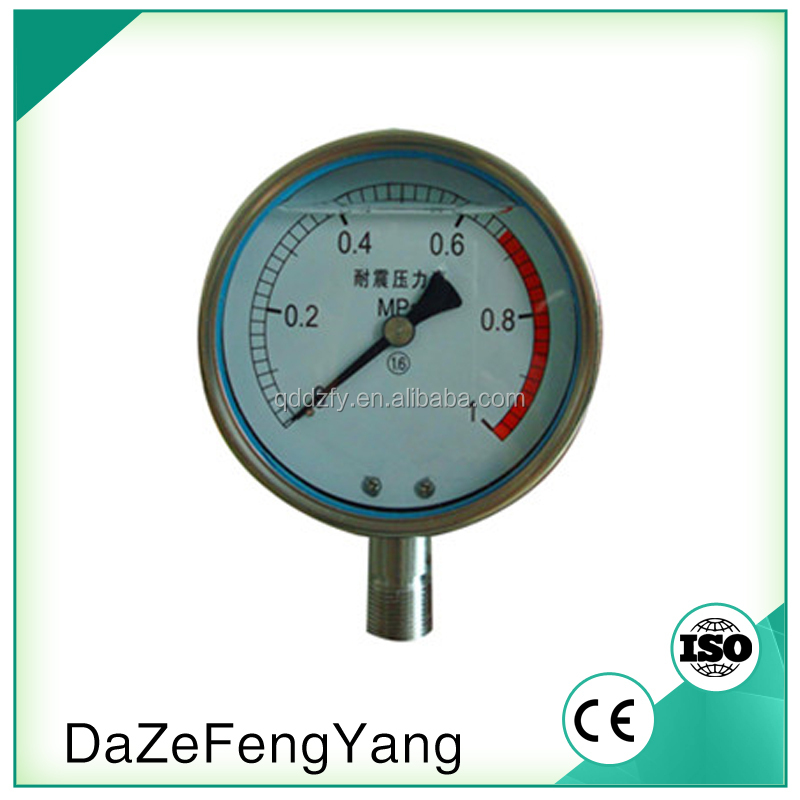 Free sample all stainless oil filled gas ammonia pressure gauge YTN-100