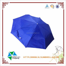 Manual open UV protection 3 folds sun umbrella silver coated umbrella