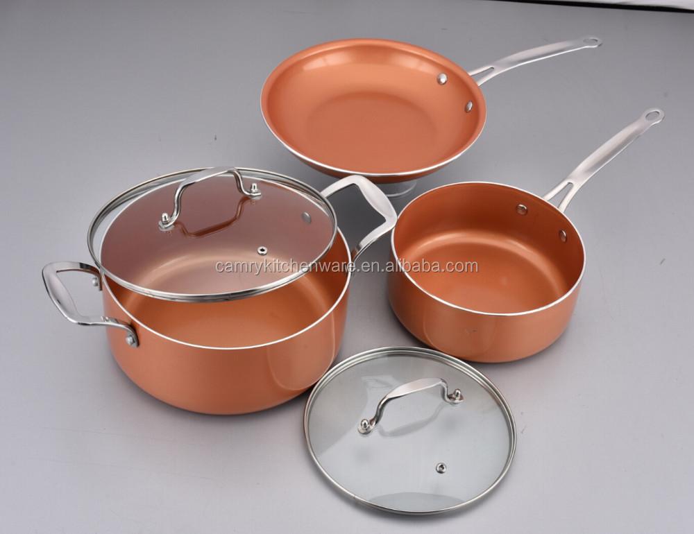 Copper Ceramic And Titanium Coating Aluminum Pan Cookware