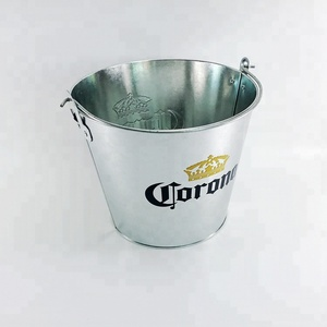 Cheap Custom Printing Galvanized Metal Beer Holder Zinc-plated Metal Ice Bucket with Handle Bottle Opener