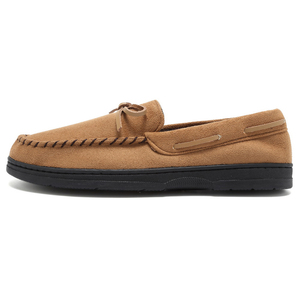 Men Indoor Slippers Soft Micro Suede Moccasin Flats Slip On Indoor Outdoor Rubber Sole Shoes