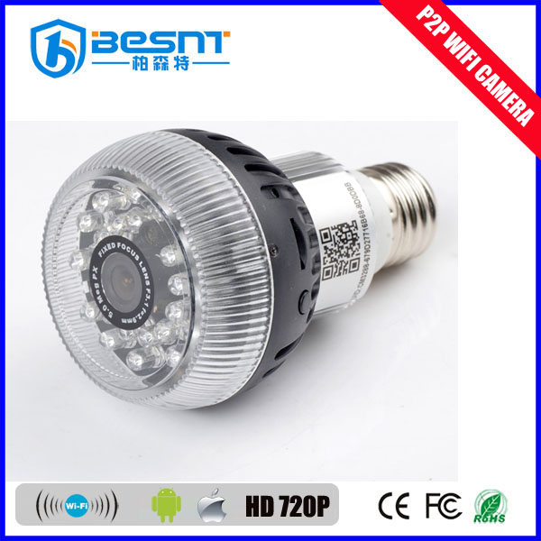 Hot security for home 1080p wireless wifi P2P lamp hidden camera long time recordingl BS-W12A