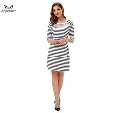 f16ed227da33 Black White Striped Women Clothes Casual Dress