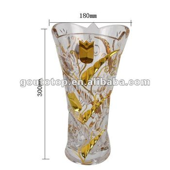 Decoration Glass Flower Bohemia Crystal Vase Hand Painted Lm6554 A