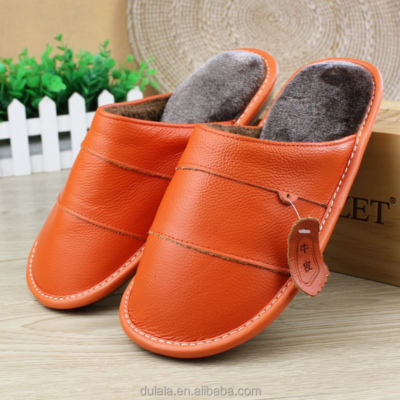 Real Genuine Leather Warm Winter Shoes Women Men Home <strong>Slippers</strong> For Couples Indoor House Bedroom Guests Plush Comfortable Flats