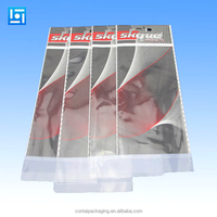 custom printed laminated material opp+cpp poly header self adheisve sealing plastic packaging bags with hanger hole
