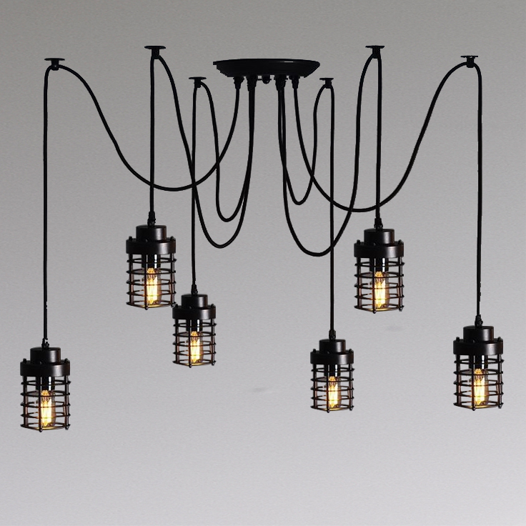 Modern Industrial Black White Copper Metal Cage Wire Pendant Light Chandelier NS-125311