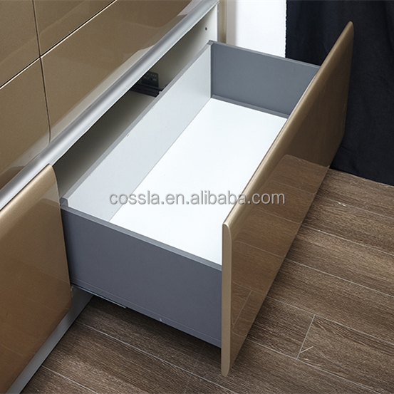 Cabinet adjustable soft close double wall slim drawer system
