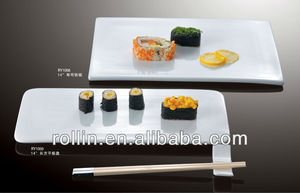 Dishwasher safe Japanese rectangular flat plate, dish without rim,