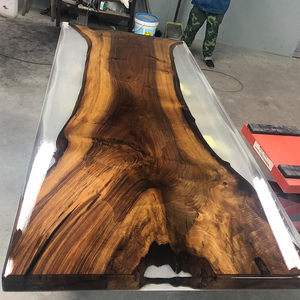 clear epoxy resin + black walnut slab table custom-made size for dining  table wood table