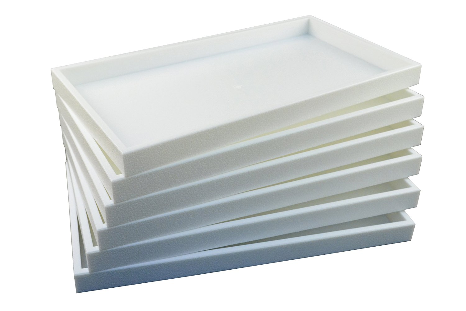 """Regal Pak ® 6-Piece 1-Inch Deep White Full Size Plastic Stackable Jewelry Tray 14 3/4"""" X 8 1/4"""" X 1""""H"""