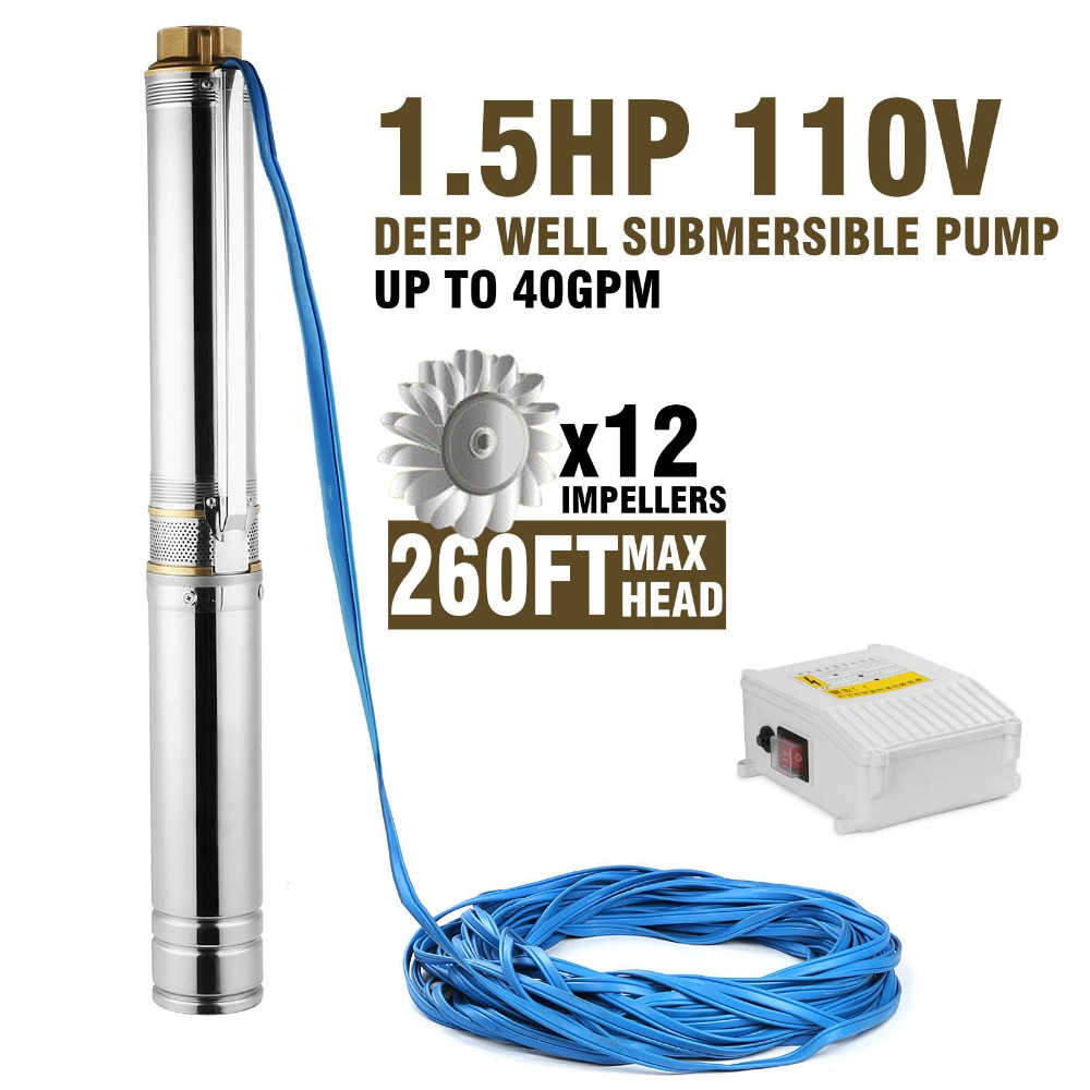 Stainless Steel Deep Well Sewage Dirty Water Submersible Pump 1.5hp
