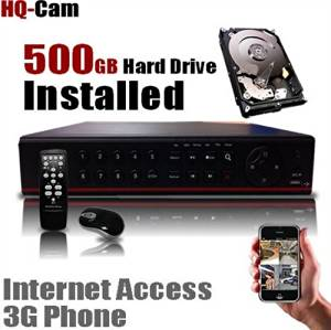 HQ-Cam 4 CH Channel Security Camera H.264 DVR System Kit with 500GB Hard Drive Installed Pre-installed - Real Time 3G Mobile