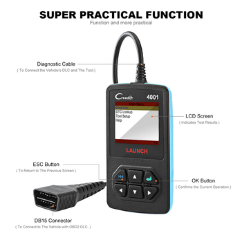 Launch Car Diy Obd2 Scanner Creader 4001 Code Reader Read/clear Dtcs  Diagnostic Tools For Cars - Buy Code Reader Read/clear,Dtcs Diagnostic  Tools For