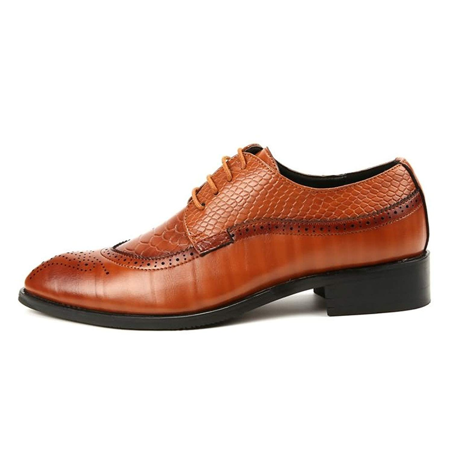 Muyin Men's Oxfords Pointed Toe Flat Heel Soft PU Leather Lace up Business Casual Shoes