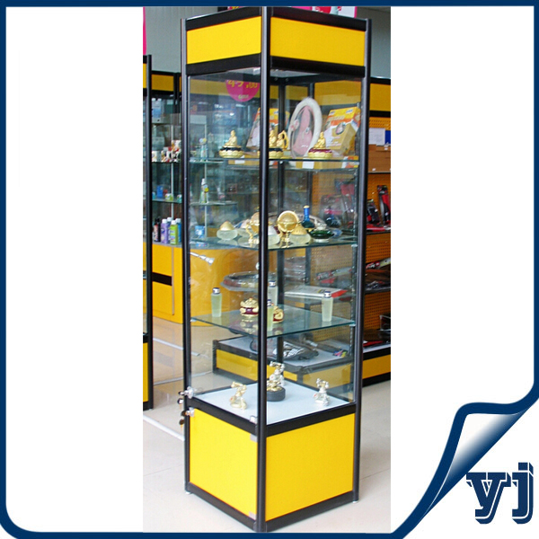 Good Price Golden Frame Style Square Tall Boutique Display Cabinet ...