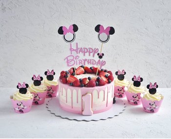 Peachy 24Pcs Cartoon Mickey Minnie Mouse Cupcake Wrappers Toppers Pick Funny Birthday Cards Online Overcheapnameinfo