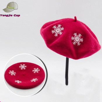 706da52490b Custom Embroidery Berets Wool Felt Berets French Beret Hat For Women ...