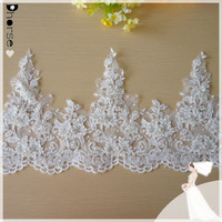 Fancy lace trimming wedding veils with pearls decoration/ white bridal wedding headpiece veil lace trim DHBL1876