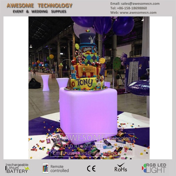 led color change acrylic cake display table for wedding and party