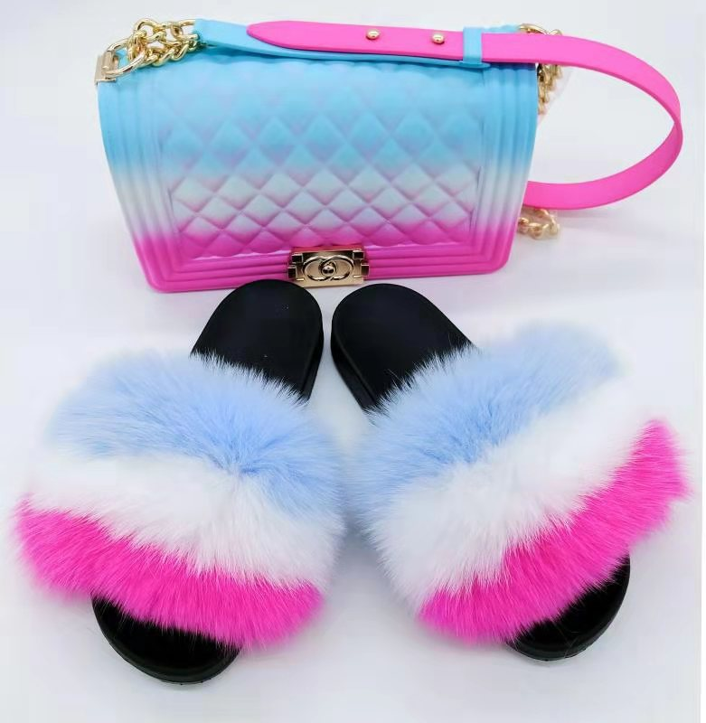 Perfect Wholesale fashionable Sandals raccoon fur slides Custom Logo fox fur furry <strong>slippers</strong> for women 2019