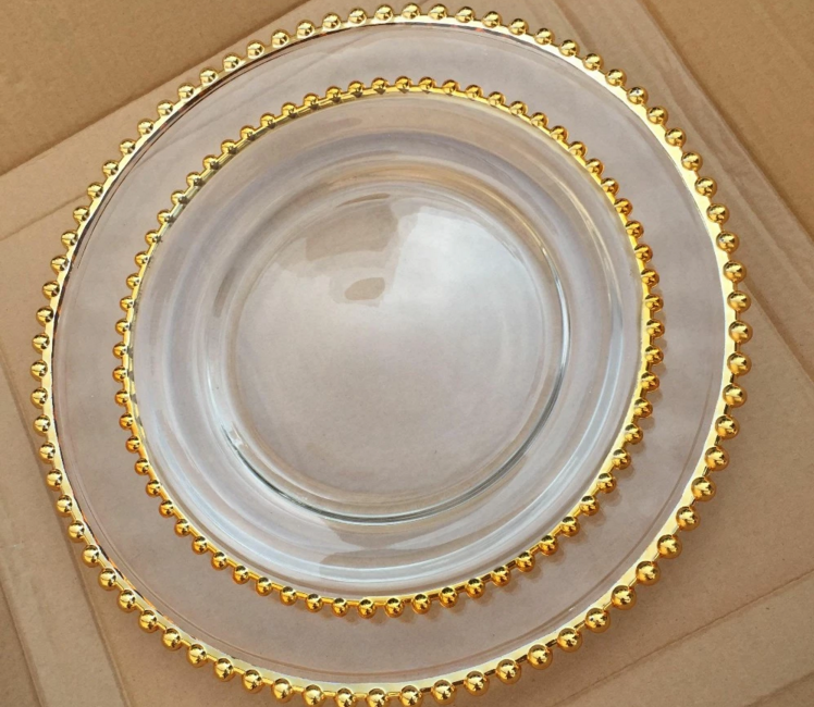 32cm Elegant Cheap Gold Beaded Charger Plate for Parties, Weddings, Full Course Dinner Use