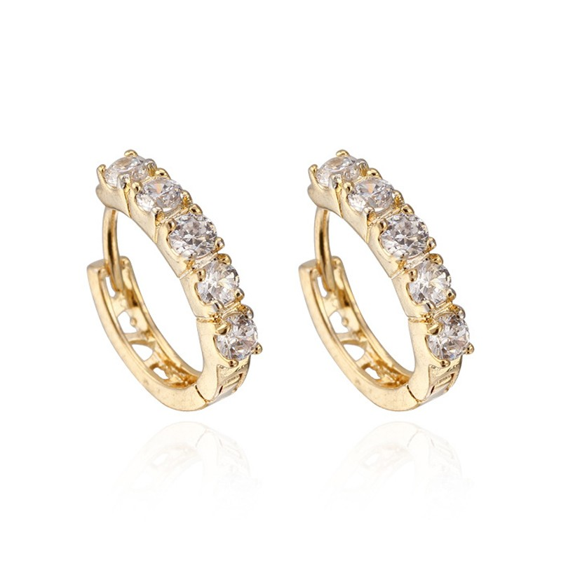 Simple Style Hollowed 18k Real Gold Plated Channel Setting Cz Hoop ...