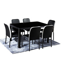 Modern Dining Table and Chair Tempered Glass Top Metal Base Design Dining Table Set with 6 Chairs For Dining Room
