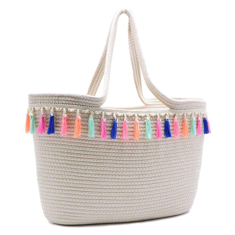 75c5615a4f9f Women Summer Beach Tote Bag with Pom Pom Large Travel Shoulder Bag Handbag  Cotton Woven Medium