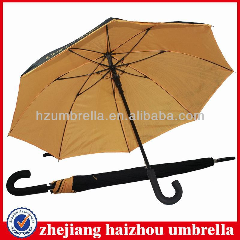 Fiberglass frame double layer auto open rain straight umbrella