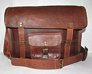 """LEATHER BAGS 4 YOU 15"""" Inches Classic Adult Unisex Leather Laptop Messenger Bag"""