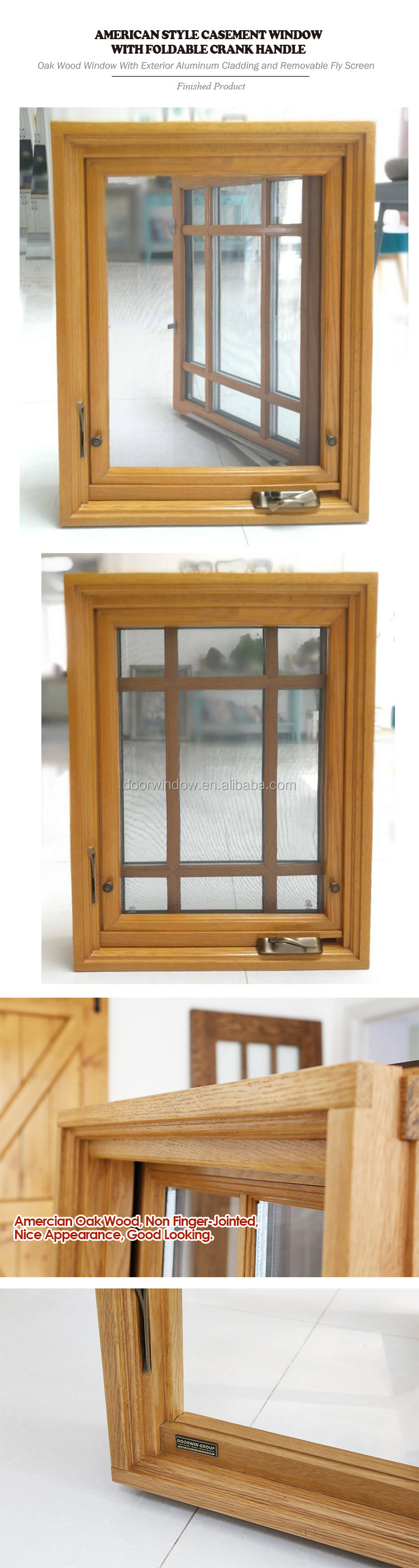 American standard wood aluminum frame crank open window with grill design and mosquito net