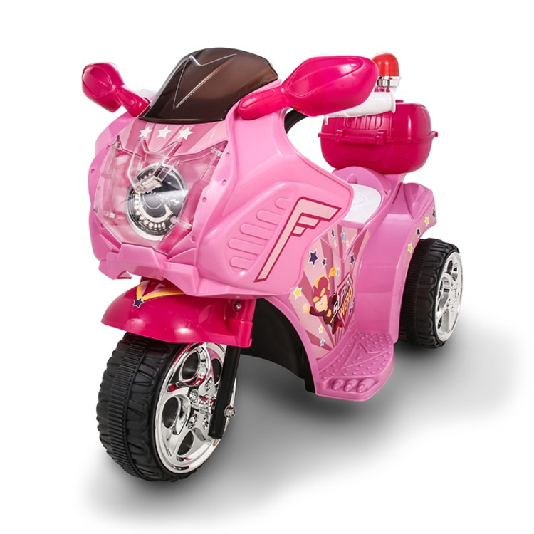 3 Wheel Motorcycle Ride On Toys Pink Bike 6V Battery Powered Car For Kids to Ride