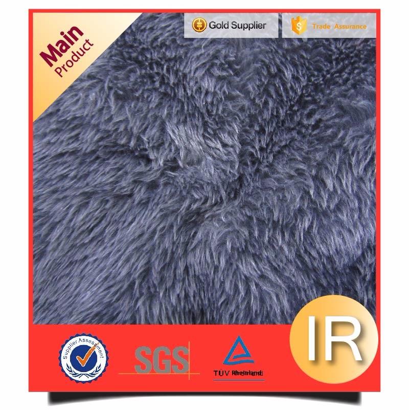 flocked dark grey plain lamb fur fabric