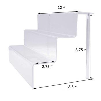 Acrylic 3 Step Freestanding Display Rack Acrylic Riser Stand acrylic display risers