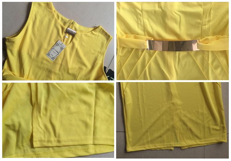 20701 Wanita Musim Panas Geometris Jahitan Warna Lengan Pendek Slim Pensil Terbaru Formal Gaun Pola