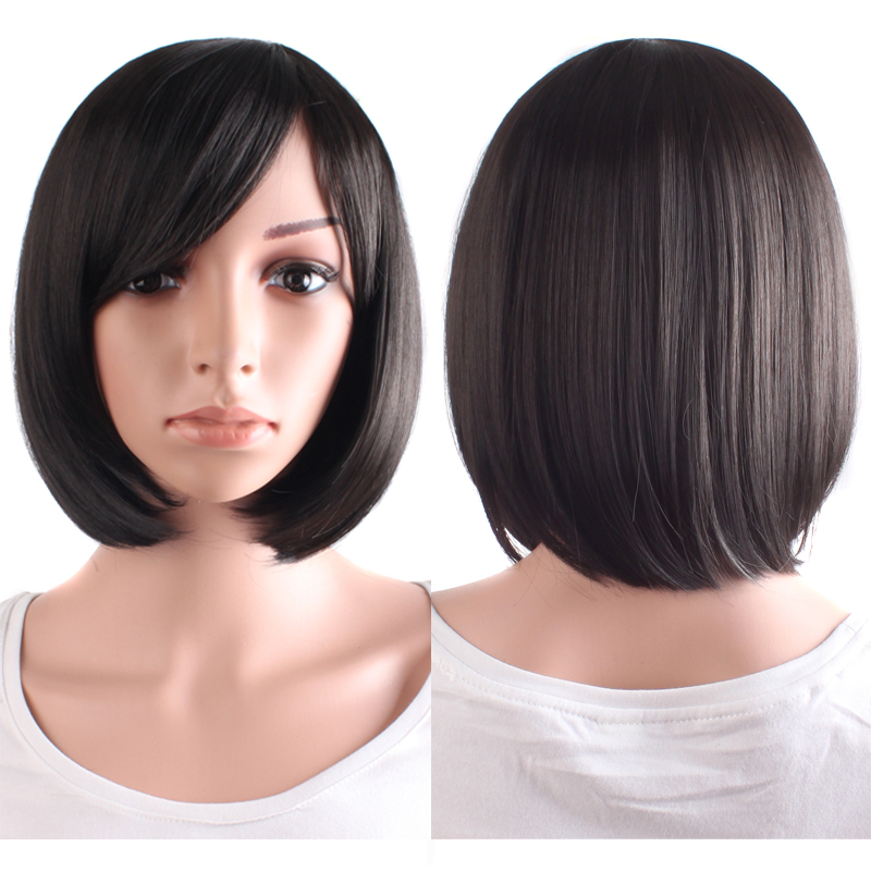 Short straight Cosplay Wigs black dark Light Brown 4 colors 30cm women synthetic Heat Resistant hair