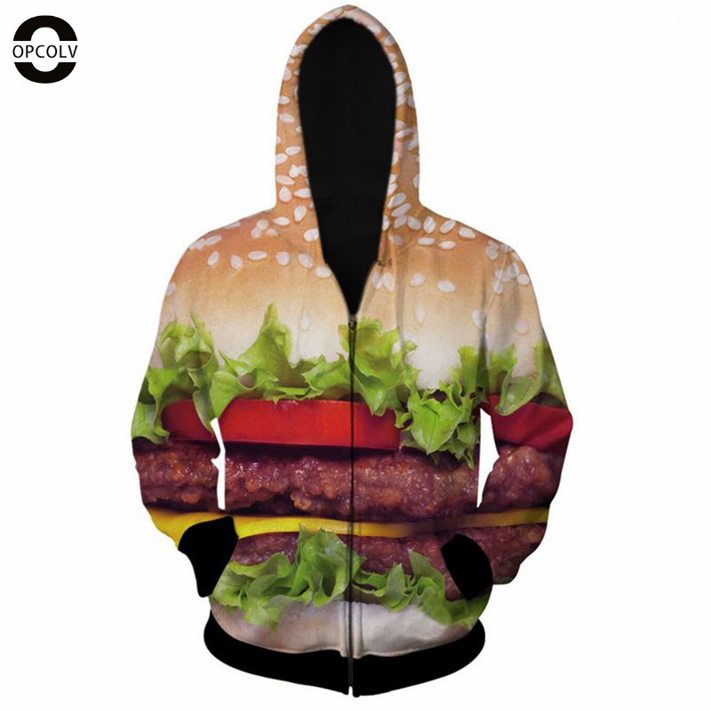 OPCOLV 2015 fashion men/women hip hop zipper 3d sweatshirt print hamburger hoodies casual funny graphic food 3d sweatshirts