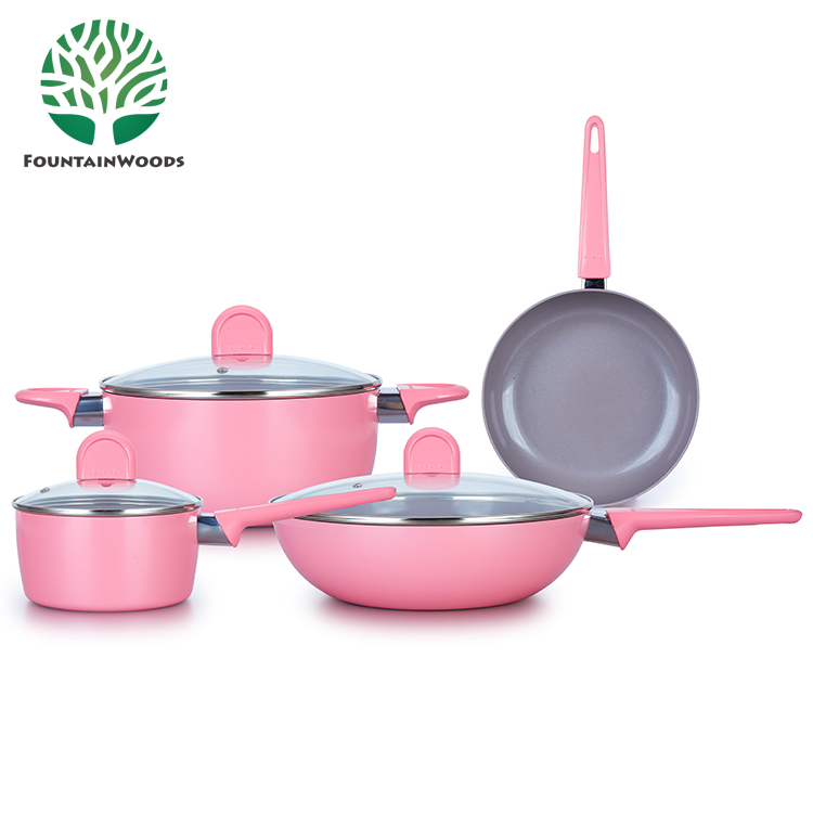 2017 Fashion and New Design Cherry Blossom Pink Non Stick Aluminum Ceramic Cookware <strong>Set</strong>