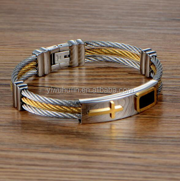 JZY001 Huilin Jewelry Men's Titanium steel Bracelets Three Rows Wire Braiding Cross Stainless Steel Bangle Punk Male