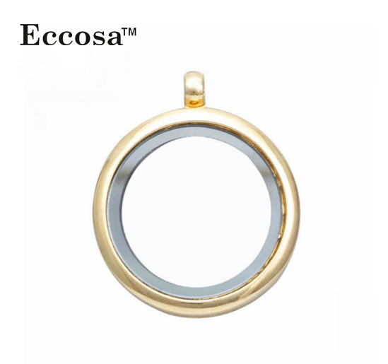 30MM Gold Alloy Floating Lockets, Charm Locket Pendant Necklace for Women