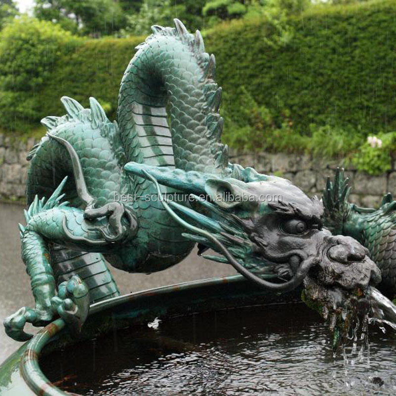 outdoor garden pool bronze dragon water fountain sculpture