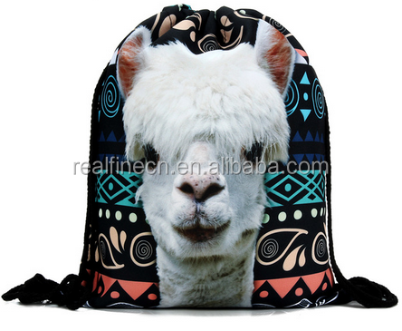 2016 new fashion Women Backpack 3D printing travel softback women llama aztec drawstring bag mens backpacks Girls Backpack