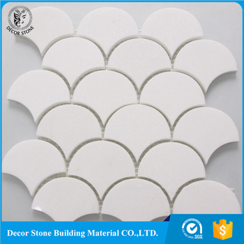 Thassos White Marble Fish Scale Fan Shaped Mosaic Backsplash Tile